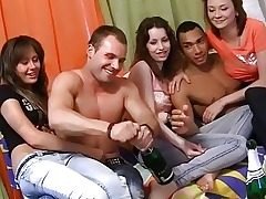 Naked dancing and wild group party romp