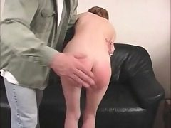 Lean Zoe can't pay her rent and he spanks her tiny bootie crimson
