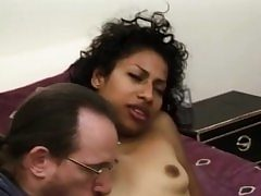 Fledgling ebony stunner facialized during groupsex