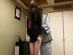 Adorable Japanese college girl has an older man touching her