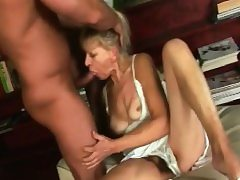 Platinum-blonde Granny Inci Gives Head And Rides Rod