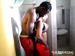 Real African inexperienced mega-slut toilet drill