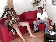 Aged hubby eyeing wife riding another cock