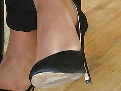 Candid soles and high-heeled slippers at work #20