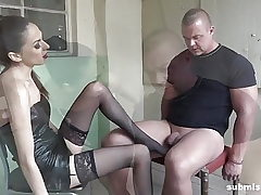 Roped man submissed by European domina! Supreme Femdom!