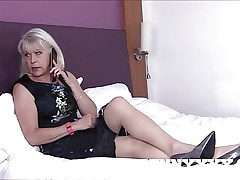 Dirty Old Granny Lady Sextasy Penetrates Toyboy in Stockings!