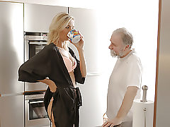 OLD4K. Bearded older gentleman and young teen start new day...