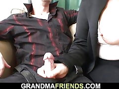 Blonde old grandma dual nailed on the table