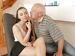 DADDY4K. Old gentleman easily seduces stellar redhead to..
