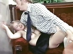 Skinny maid with blonde hair drilled by guest