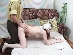 Russian college girl gets shaved pussy pulverized