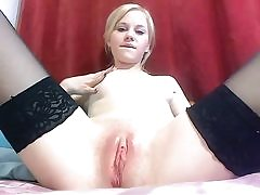 Hot blonde inhales fake penis and shows honeypot