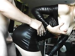 Latex young babe gets doggy plumbed hard