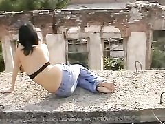 Outdoor barefoot teen unexperienced solo