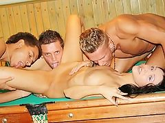 Dark-Haired torn up rigid on the pool table