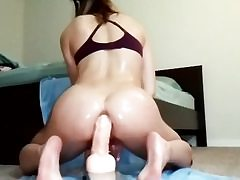 Amateur girlfriend anally riding a enormous dildo getting bum filled up