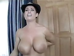 Hot police lady undressing naked unveiling her amazing boobs on cam