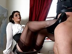 Naughty teacher fucks her vagina with a lovemaking fucktoy and bj's on his..